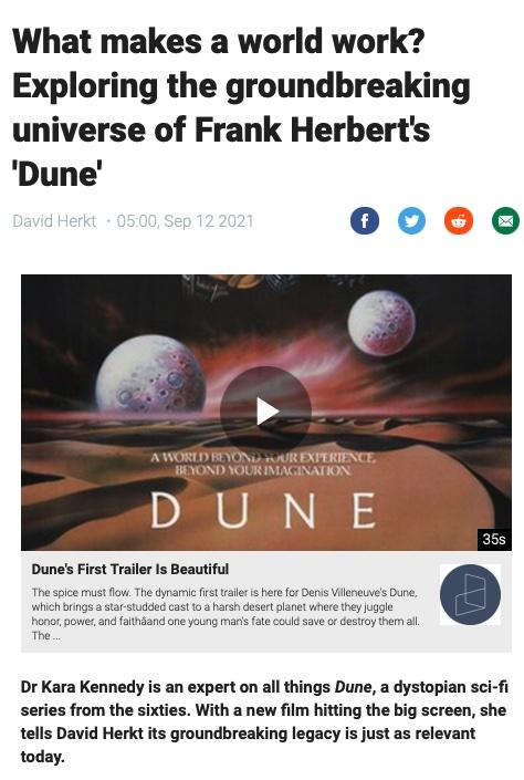 Dr Kara Kennedy interview on Frank Herbert's Dune